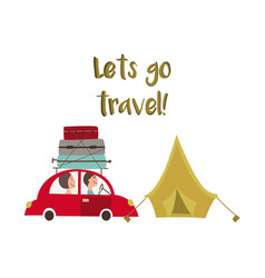 Family road trip and camping concept car and tent vector
