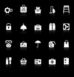 Home storage icons with reflect on black vector