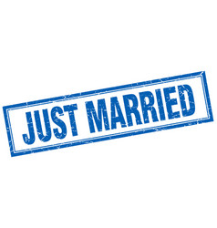 Just married blue square grunge stamp on white vector
