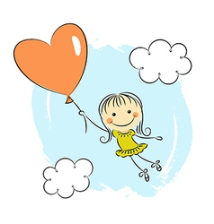 Little girl with heart balloon vector image vector image