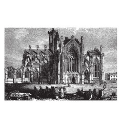 Melrose abbey 12th century vintage engraving vector