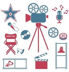 Movie and music icons vector