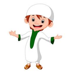 muslim boy standing vector image vector image