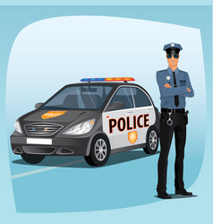 Police officer or policeman with patrol car vector
