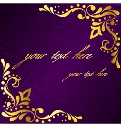 purple frame with gold filigree vector image vector image