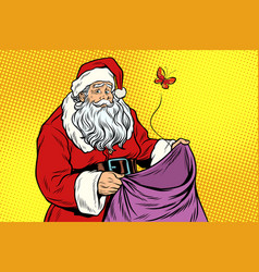 Sad santa and empty christmas bag with a moth vector