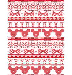 Seamless merry christmas scandinavian with mouse vector
