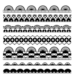 Set of black and white laces vector image vector image