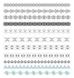 Set of calligraphic design borders elements vector