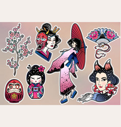 Set of flash style japanese patches stickers vector