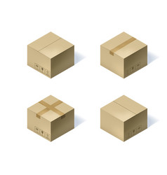 Set of four isometric cardboard boxes isolated on vector