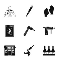 tattoo icon set simple style vector image