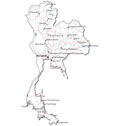 Thailand black white map vector