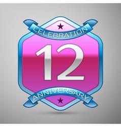 Twelve years anniversary celebration silver logo vector