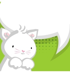 White cute little kitty green backdrop vector