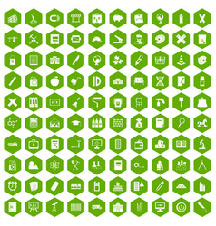 100 pensil icons hexagon green vector
