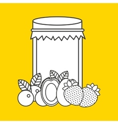 Canned fruit in mason jar vector