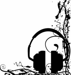 Grunge headphones background vector