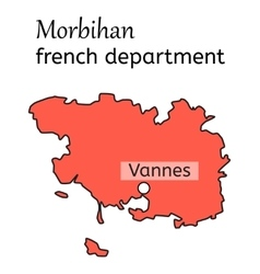 Morbihan french department map vector