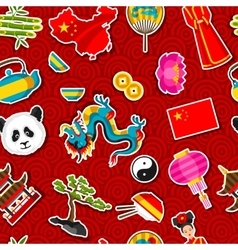 China seamless pattern chinese sticker symbols vector