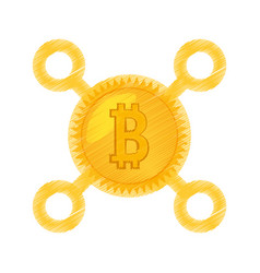 Drawing bitcoin currency icon vector