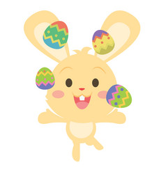 Yellow bunny juggling easter egg vector