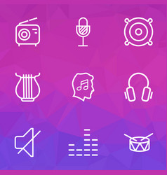 Audio outlines set collection of cover stringed vector