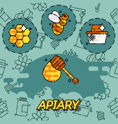 Apiary flat icons set vector