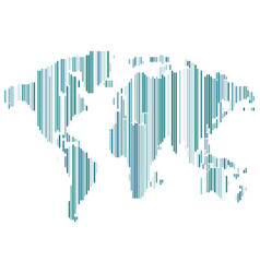 Isolated blue color worldmap of lines on white vector