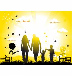 family on nature vector image