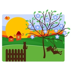 Childhood with landscape vector