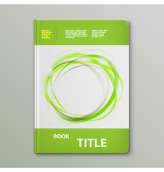 Abstract green rings book template vector