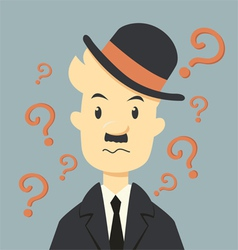 Businessman with question mark symbol vector