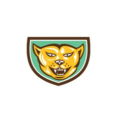 Puma mountain lion head shield woodcut vector