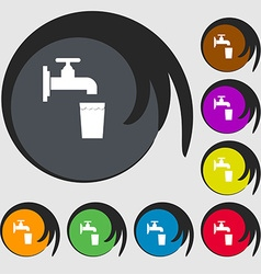 Faucet glass water icon sign symbol on eight vector