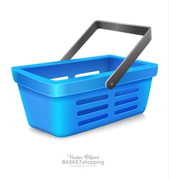 Blue shopping basket to market vector