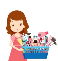 Girl holding shopping baskets full of products vector