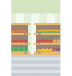 Background of vegetables and fruits on shelves vector