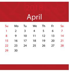 April 2018 calendar popular red premium for vector