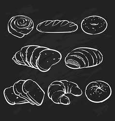 Bakery outline eco foods fresh bread vector