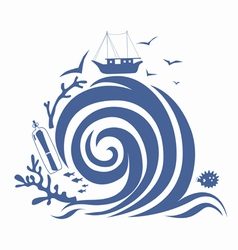 Big wave and fishing vessel vector image vector image