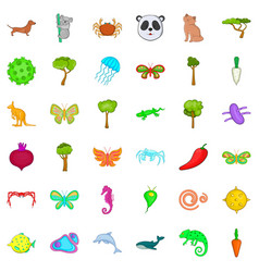 Bio supervision icons set cartoon style vector