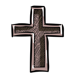 Cartoon image of religion cross icon in flat style vector