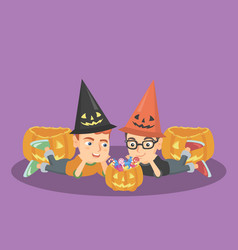 caucasian boys staring at the pumpkin with candies vector image