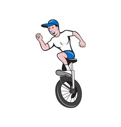 Cyclist Riding Unicycle Cartoon vector image