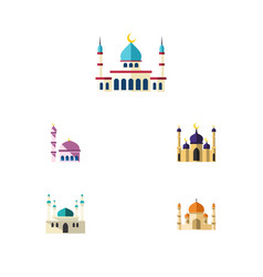 Flat icon building set of islam building mosque vector