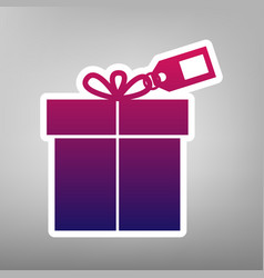 Gift sign with tag purple gradient icon vector