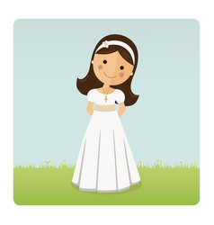 girl with communion dress on blue sky background vector image vector image