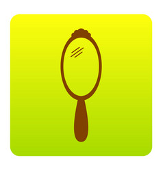 Hand mirror sign brown icon at green vector