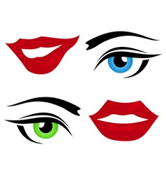 lips and eyes vector image